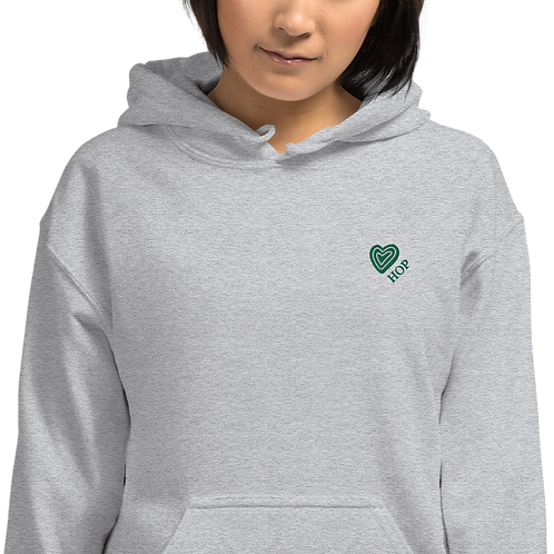 Green Heart Embroidery Unisex Hoodie