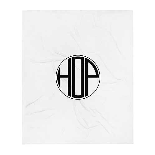 HAUS OF PASSION Logo Throw Blanket White