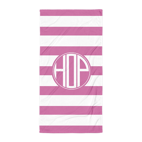 Dark Pink White Striped Towel