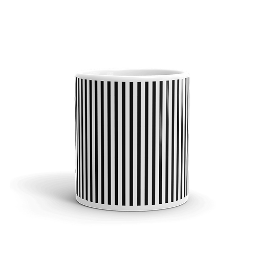 Black Vertical Stripes Mug