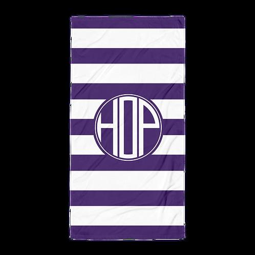 Dark Violet White Striped Towel