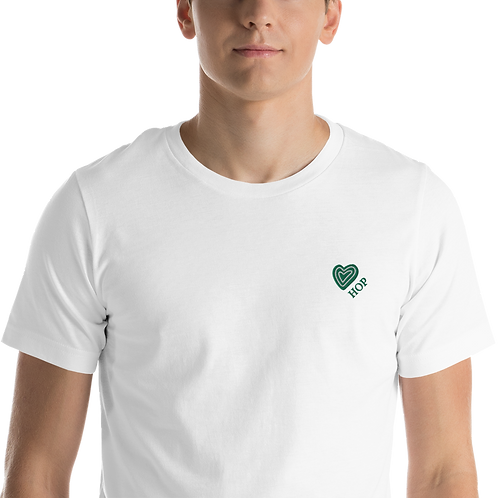 Green Love HOP HAUS OF PASSION Unisex T-Shirt White/Black