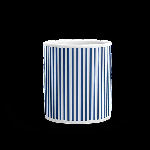 Royal Blue Vertical Stripes Mug