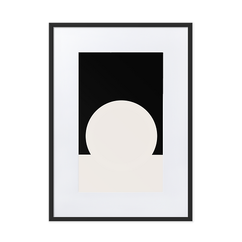 White Meets Black Matte Paper Framed Illustration Poster