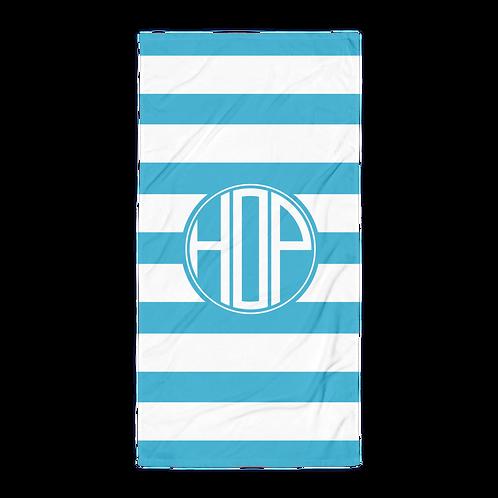 Light Blue White Striped Towel