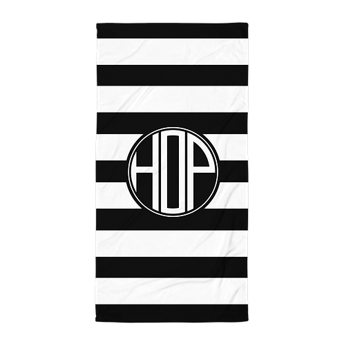 Black White Striped Towel