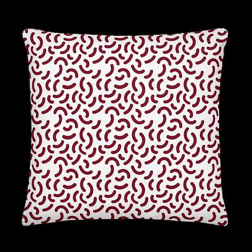 Crescent Pattern Dark Red Premium Pillow
