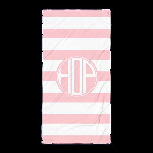 Pink White Striped Towel