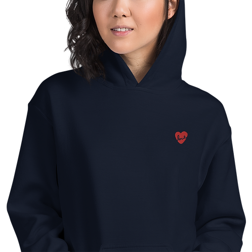 Heart Embroidery Unisex Hoodie