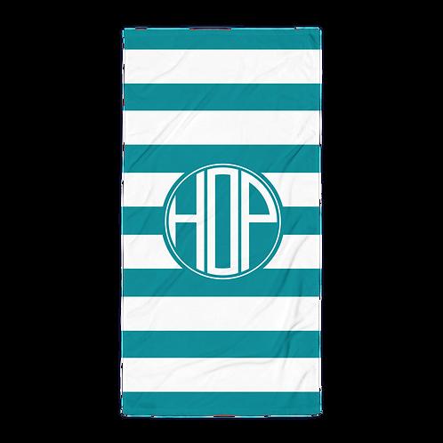 Light Petrol White Striped Towel