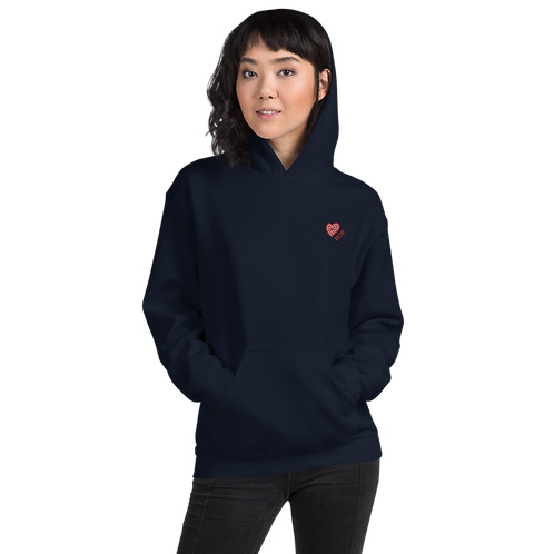 Red Heart Embroidery Unisex Hoodie