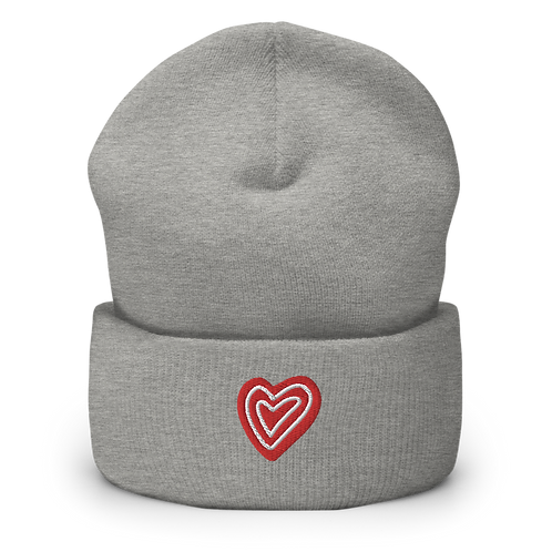 Heart Embroidery Cuffed Beanie