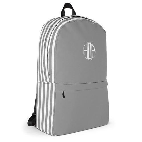 Grey/White Striped Backpack