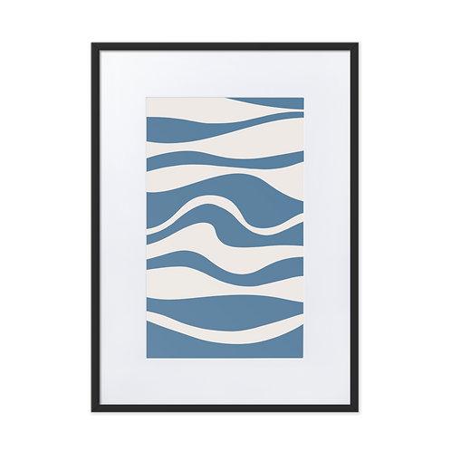 Waves Blue Matte Paper Framed Illustration Poster