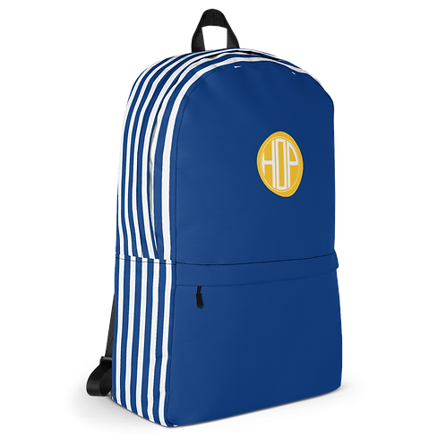 Blue/White Striped Backpack