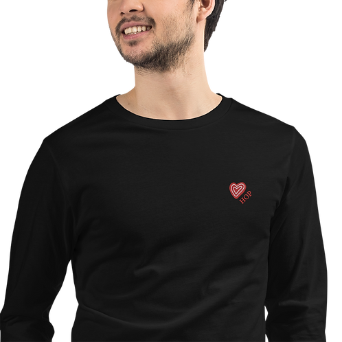 Red Heart Embroidery Unisex Long Sleeve Tee