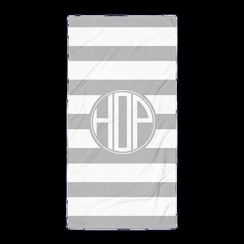 Grey White Striped Towel