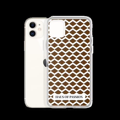 Dark Brown/White Zig-Zag Pattern iPhone Case
