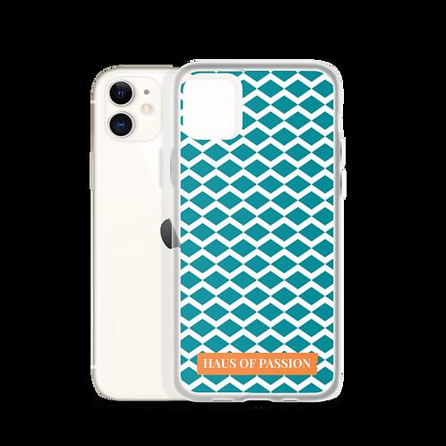 Light Petrol/White Zig-Zag Pattern iPhone Case