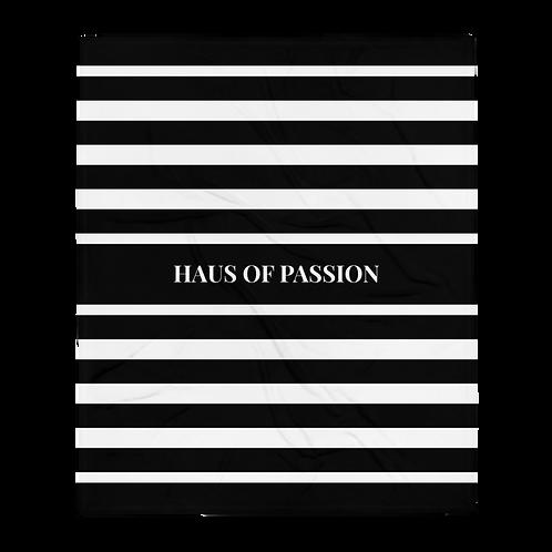 HOP Fluffy Blanket Black/White Striped