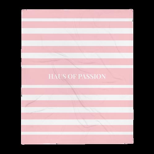 HOP Fluffy Blanket Light Pink/White Striped