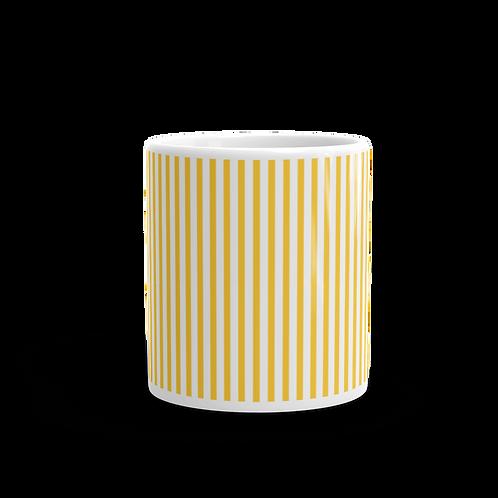 Dark Yellow Vertical Stripes Mug