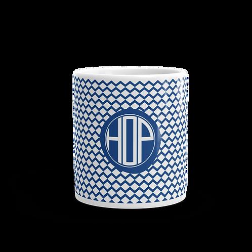 Royal Blue Zig-Zag Pattern Mug