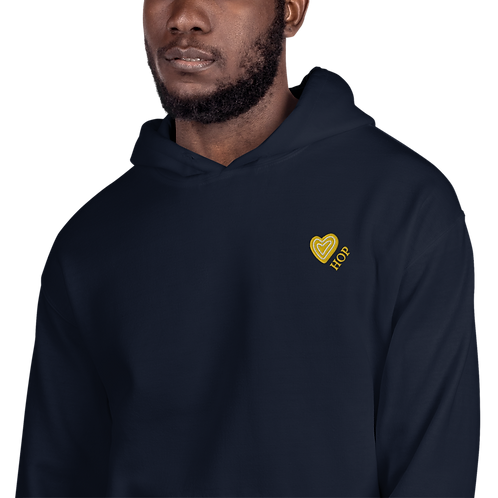 Yellow Heart Embrodiery Unisex Hoodie Navy