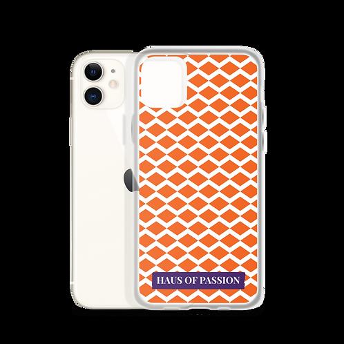 Orange/White Zig-Zag Pattern iPhone Case