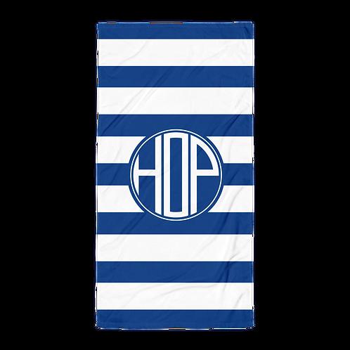 Royal Blue White Striped Towel