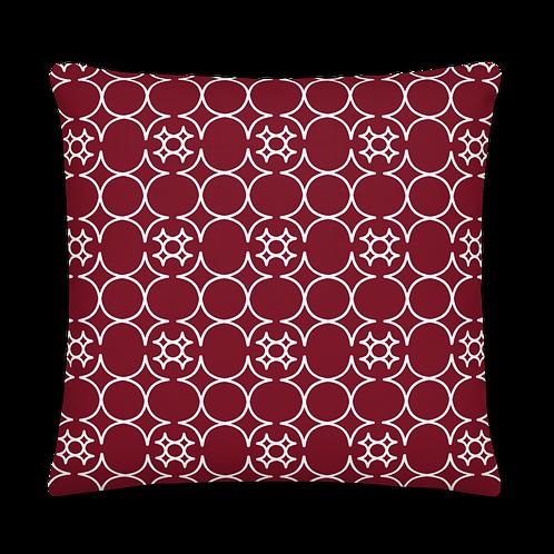 Dark Red/White Pattern Premium Pillow