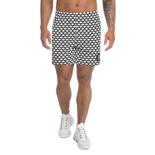 Men's Athletic Long Shorts Zig-Zag Pattern Black