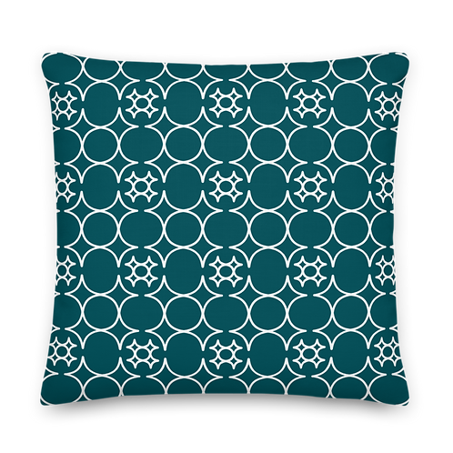 Petrol/White Pattern Premium Pillow
