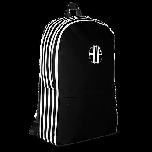 Black/White Striped Backpack