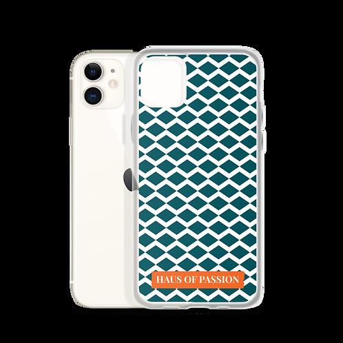 Dark Petrol/White Zig-Zag Pattern iPhone Case