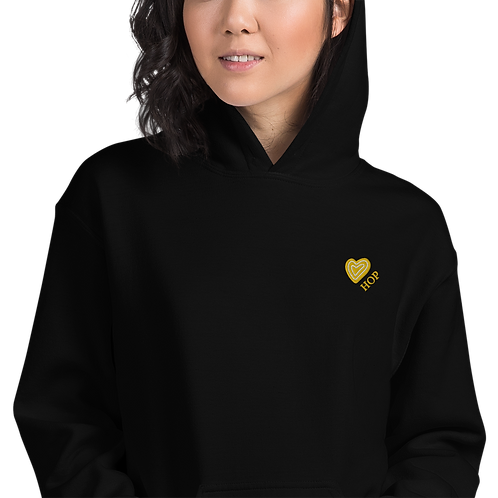 Yellow Embroidered Heart Unisex Hoodie Black
