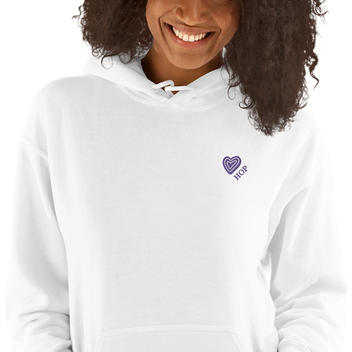 Violet Heart Embroidery Unisex Hoodie