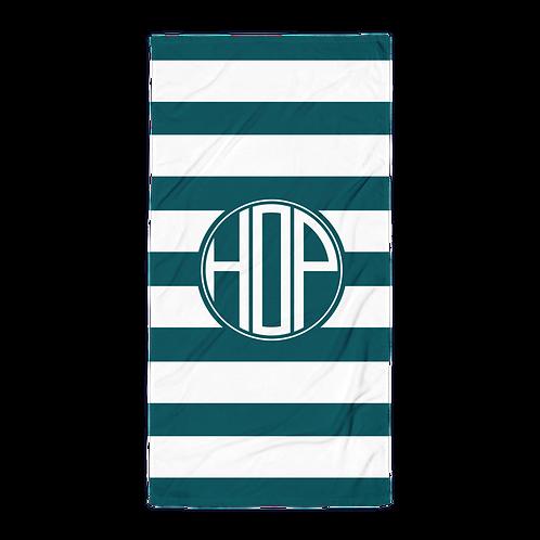 Dark Petrol White Striped Towel