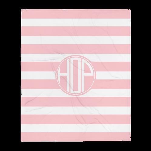 Light Pink/White Logo Throw Blanket