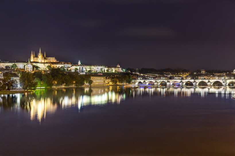 The Vitava river, Charles Bridge & Prague Castle, Prague Czech Republic