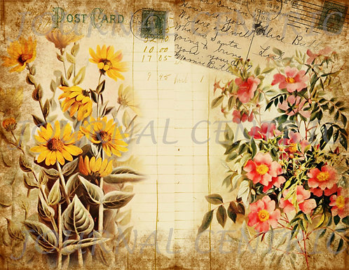 Floral Post Vintage Digital Journal Pages Kit