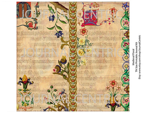 Medieval Floral Digital Journal Kit: TN Size