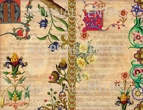 Medieval Floral Digital Journal Kit