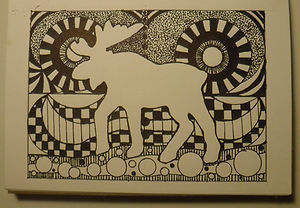 Laura's black sharpie drawing with moose
