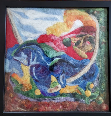 Blue Horses abstract wool felted.jpg