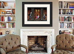 Fireplace wall Maine medium frame   blac