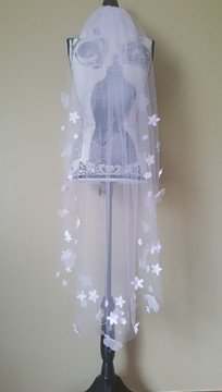 3d flower veil