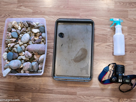 How to photograph river rocks with household items, to create a beautiful rockscape background.