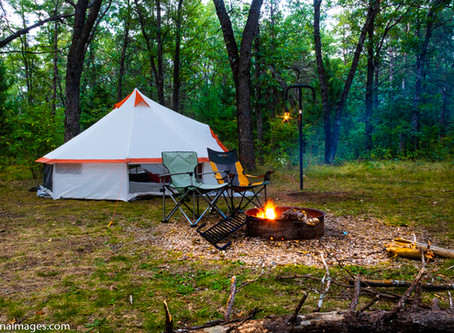 Camping at Rollways campground in Huron-Manistee National Forests of Michigan.