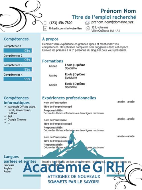 Modèle de CV - Curriculum vitae artistique simple